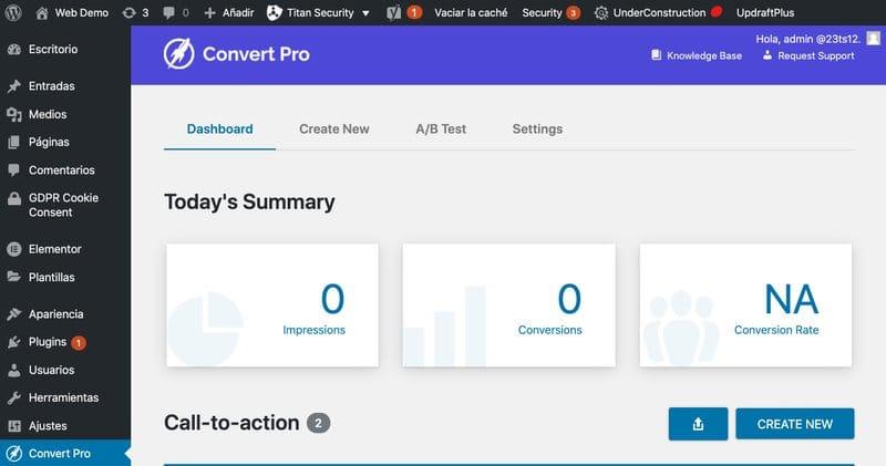 convert pro dashboard