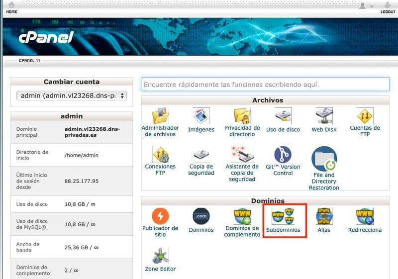Subdominio-cpanel-hosting